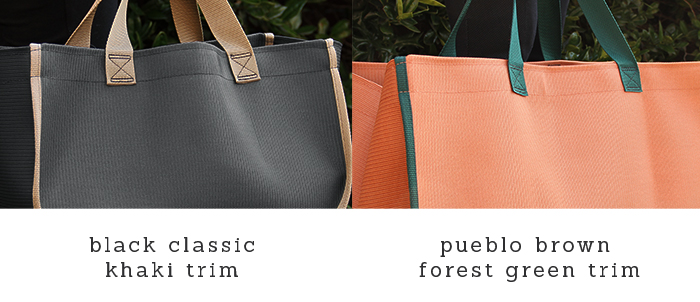 Five close-up shots of carry-alls with the different trim colors: khaki, arctic silver, firehouse red, sunburst yellow, and pueblo brown with forest green trim